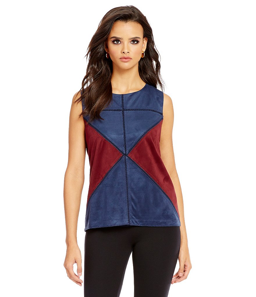 Cremieux Joanna Sleeveless Faux-Suede Blouse
