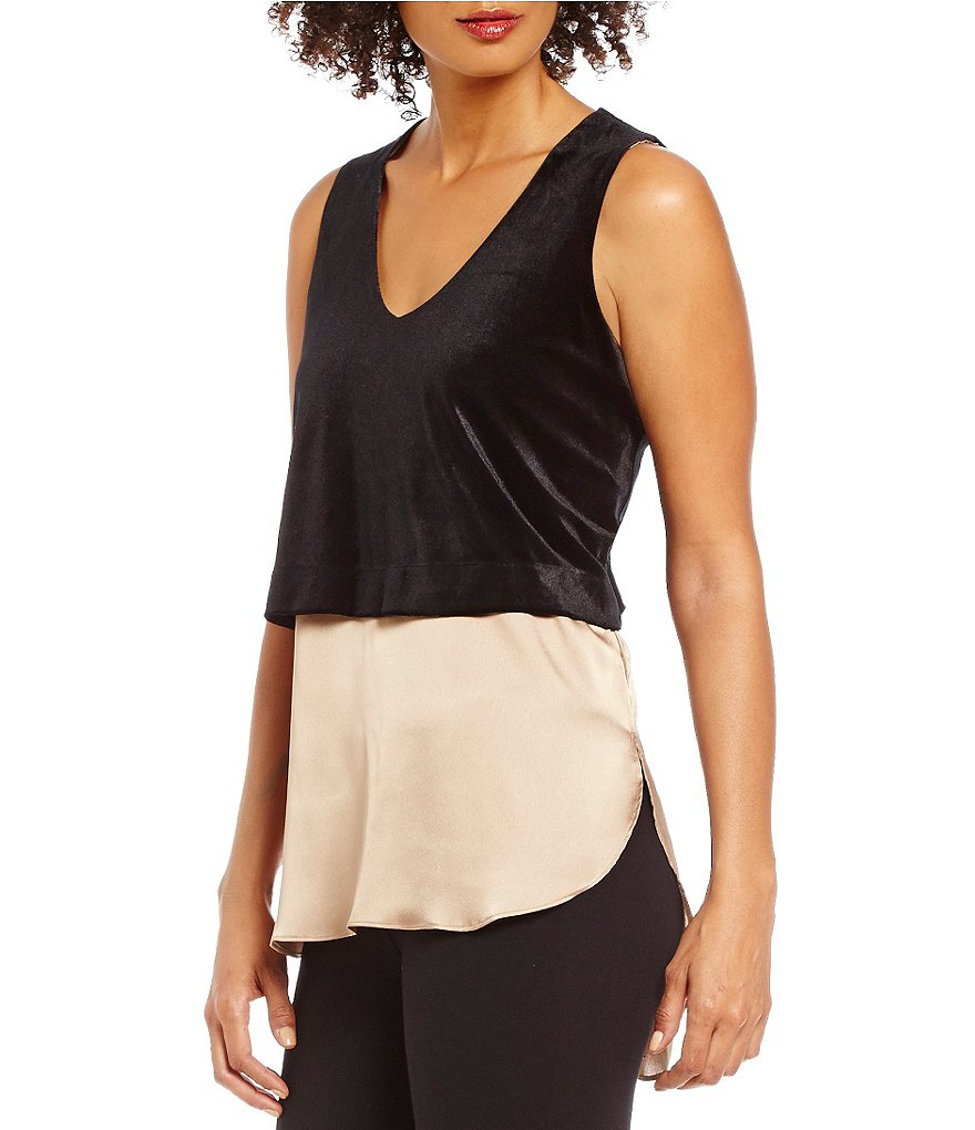 Cremieux Katie Mixed Media Velvet Sleeveless Blouse