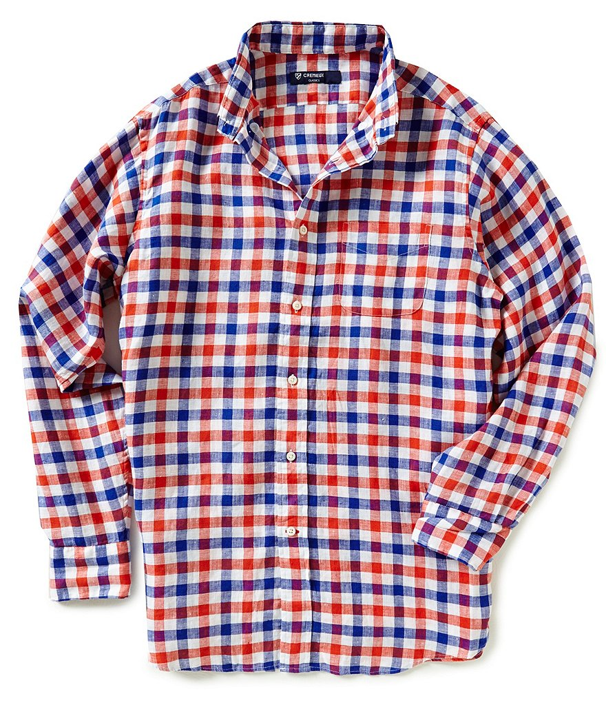Cremieux Long-Sleeve Large Check Linen Shirt