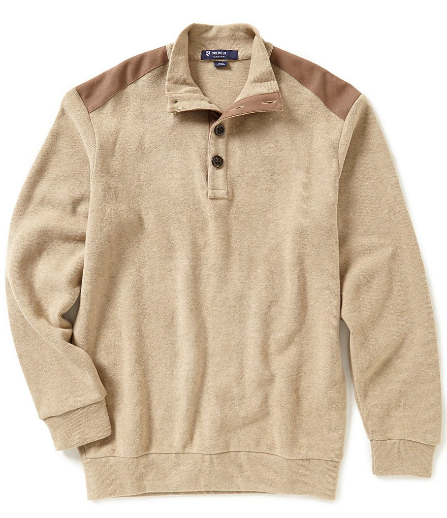 Cremieux Highland Peaks Collection Elbow-Patch Mockneck Shirt