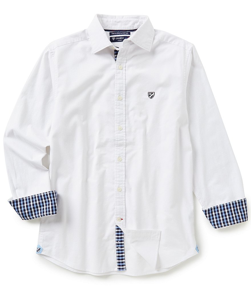 Cremieux Long-Sleeve Slim-Fit Solid Oxford Woven Shirt