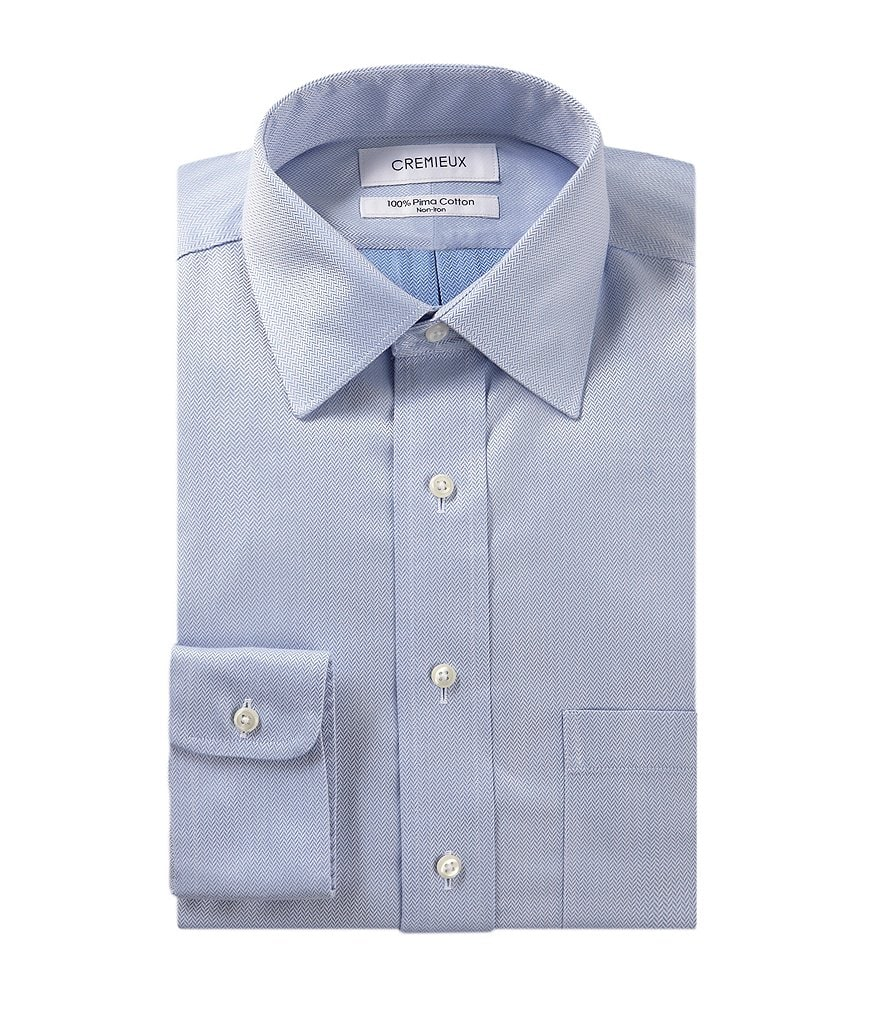 Cremieux Non-Iron Fitted Classic-Fit Spread-Collar Herringbone Dress Shirt