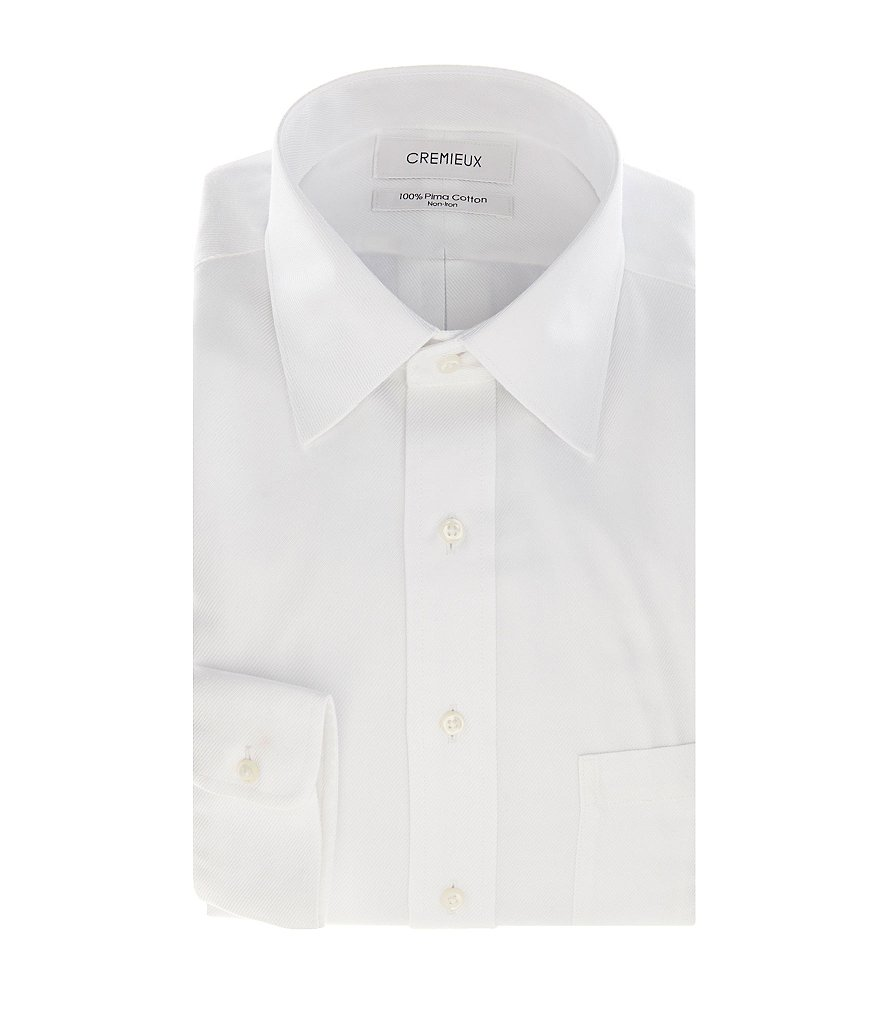 Cremieux Non-Iron Fitted Classic-Fit Spread-Collar Long-Sleeve Solid Dress Shirt