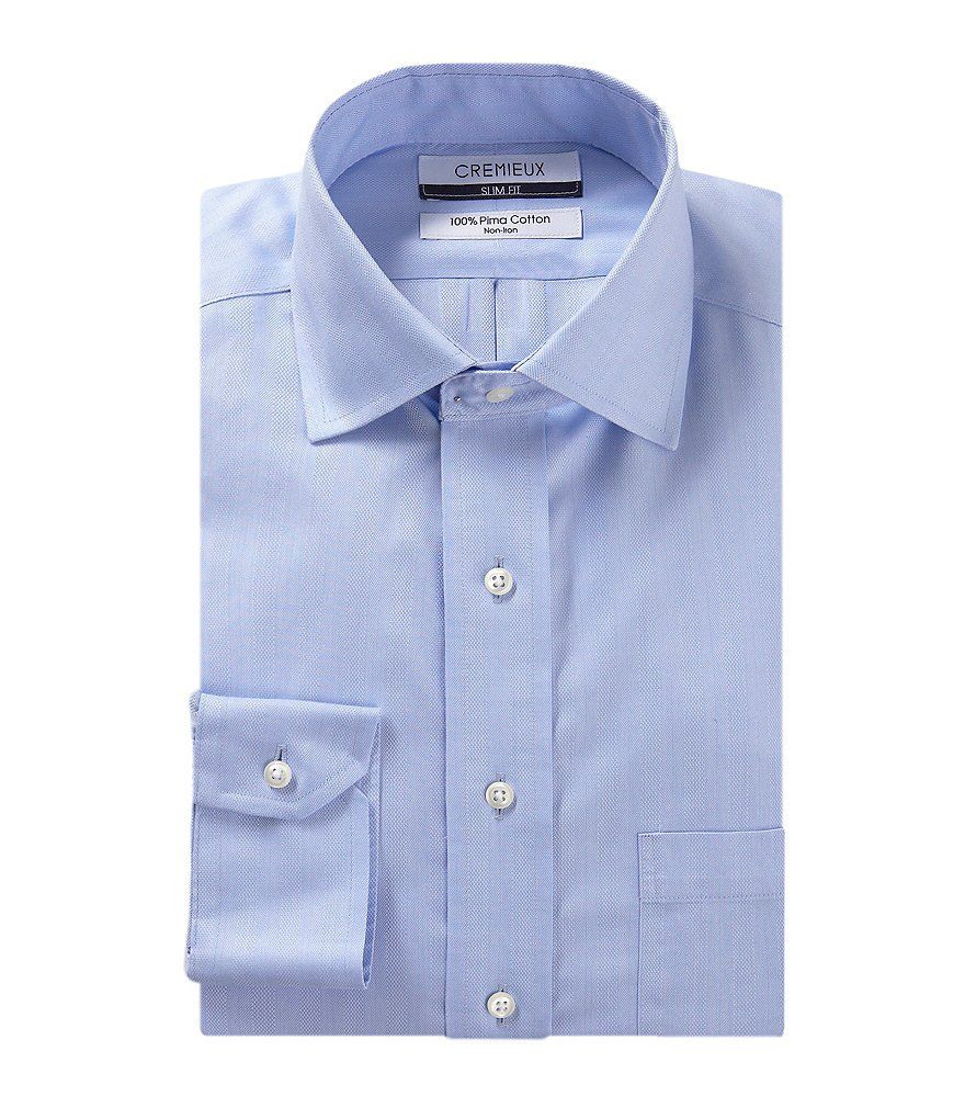 Cremieux Non-Iron Slim-Fit Spread-Collar Tonal Stripe Herringbone Dress Shirt