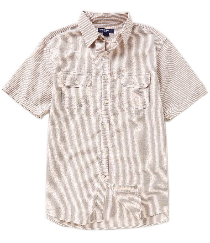 Cremieux Striped Seersucker Short-Sleeve Shirt