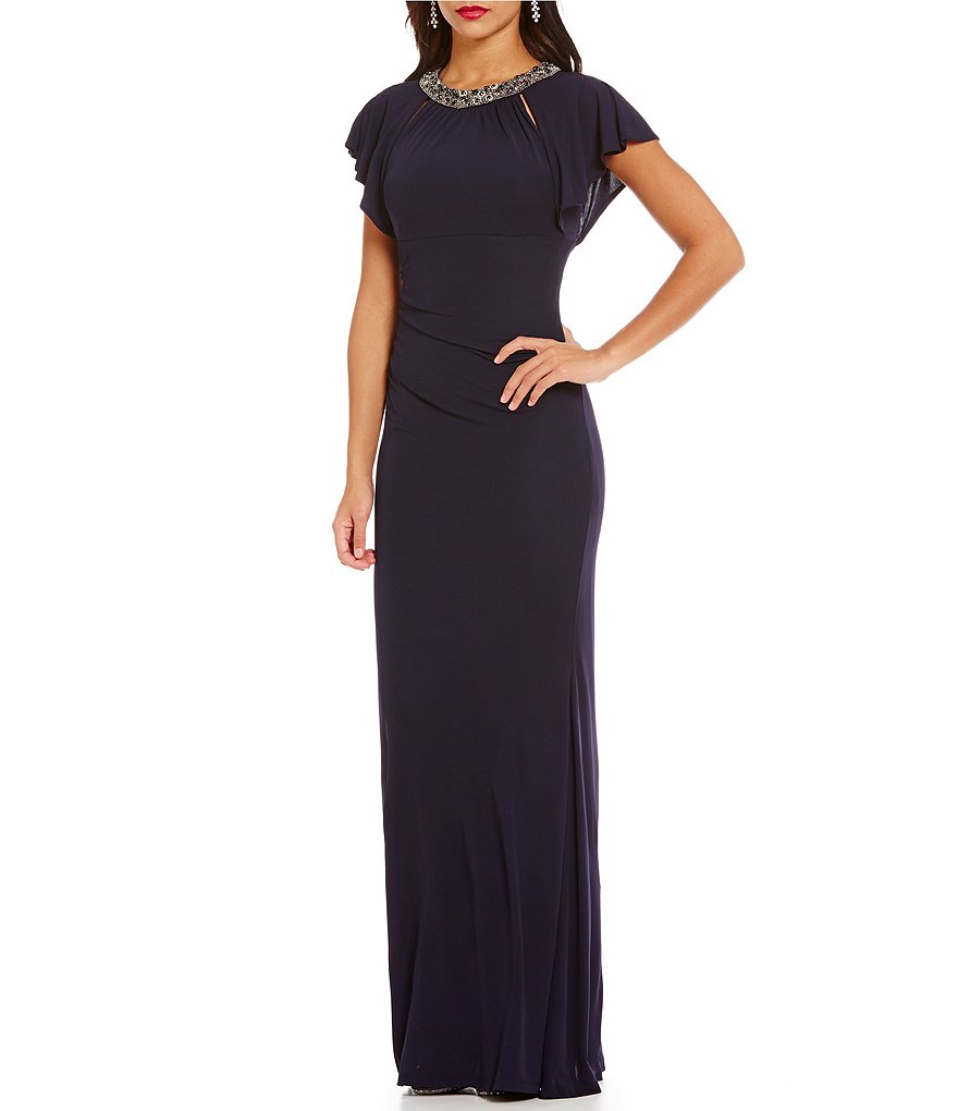 David Meister Beaded Neck Flutter Sleeve Jersey Gown