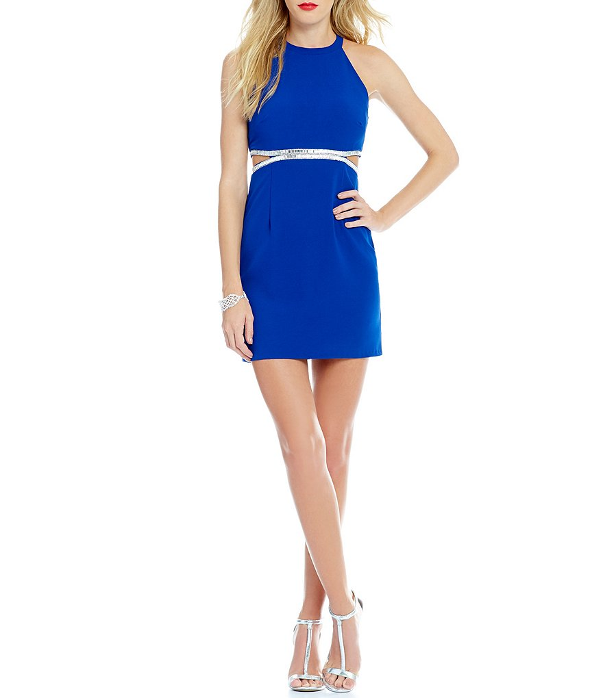 Dear Moon High Neck Embellished Cutout Waist Sheath Dress