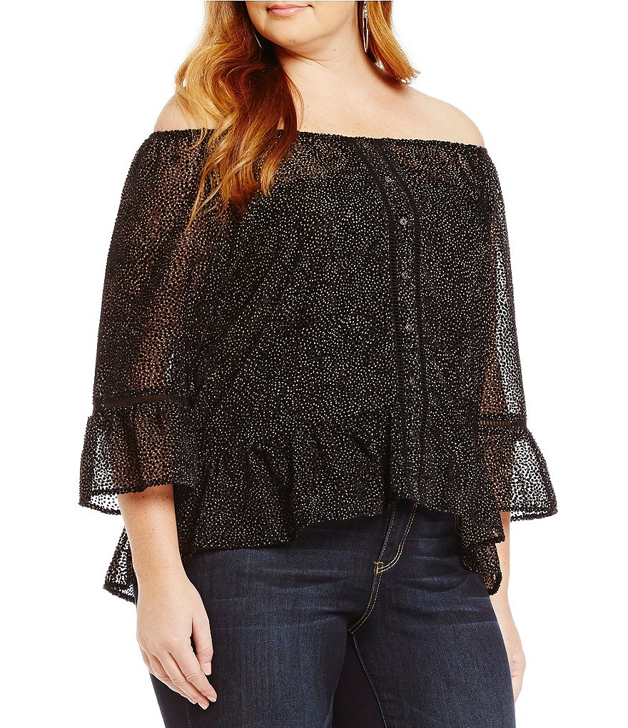 Democracy Plus Off-The-Shoulder Dot Print Flounce Top