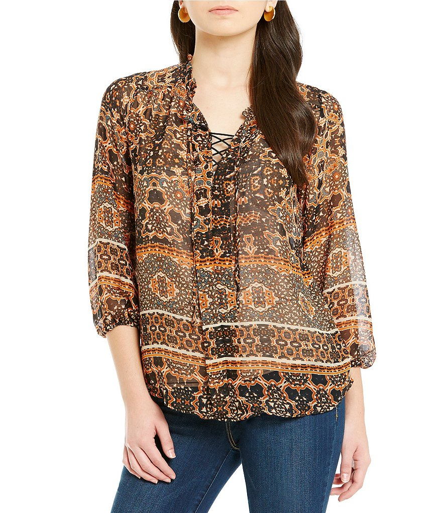 Democracy Ruffle Neck Lace-Up Printed Top