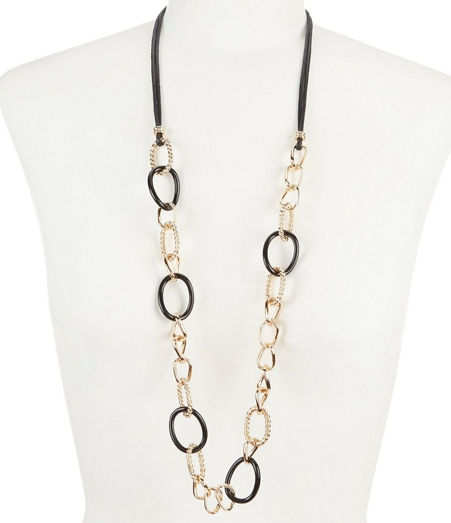 Dillard´s Tailored Jet Ring and Cord Long Necklace