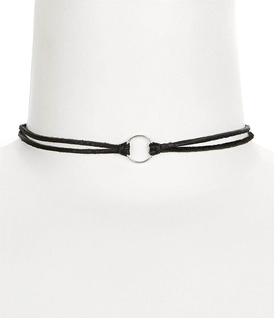 Dogeared Karma Leather Choker Necklace