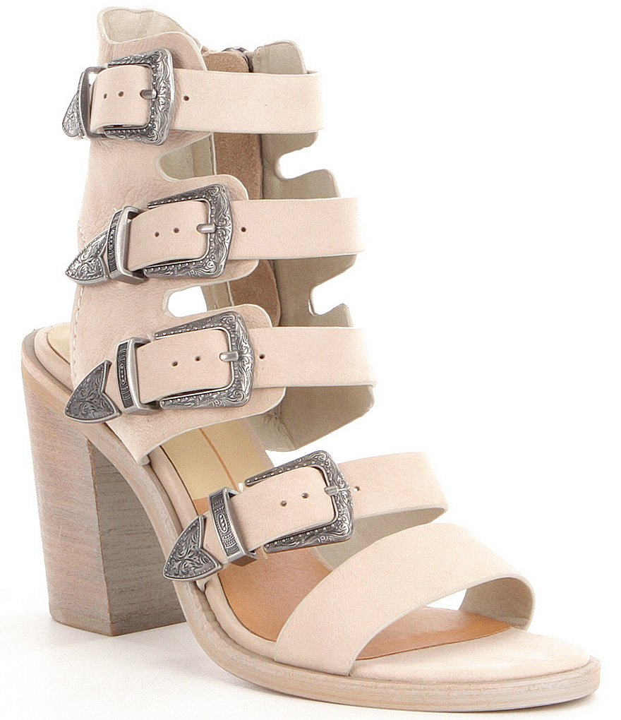 Dolce Vita Layell Multi Strap Buckle Stacked Block Heel Sandals