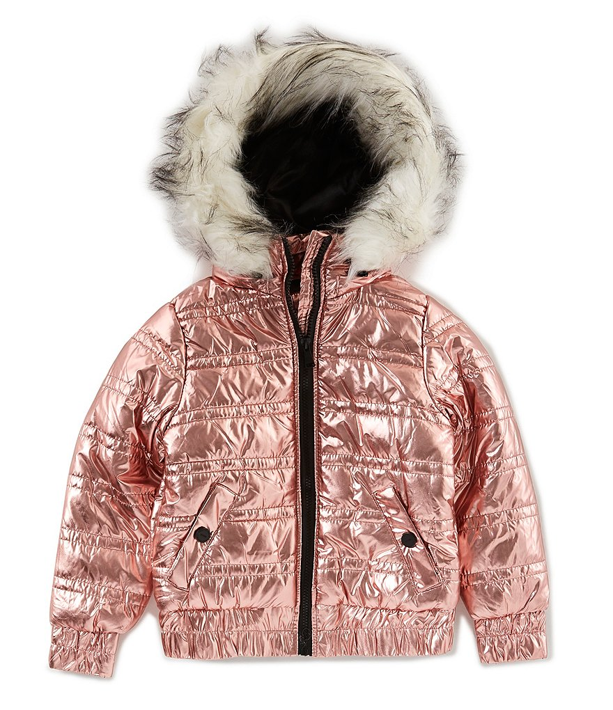 Urban Republic Big Girls 7-16 Hooded Metallic Puffer Bomber Jacket