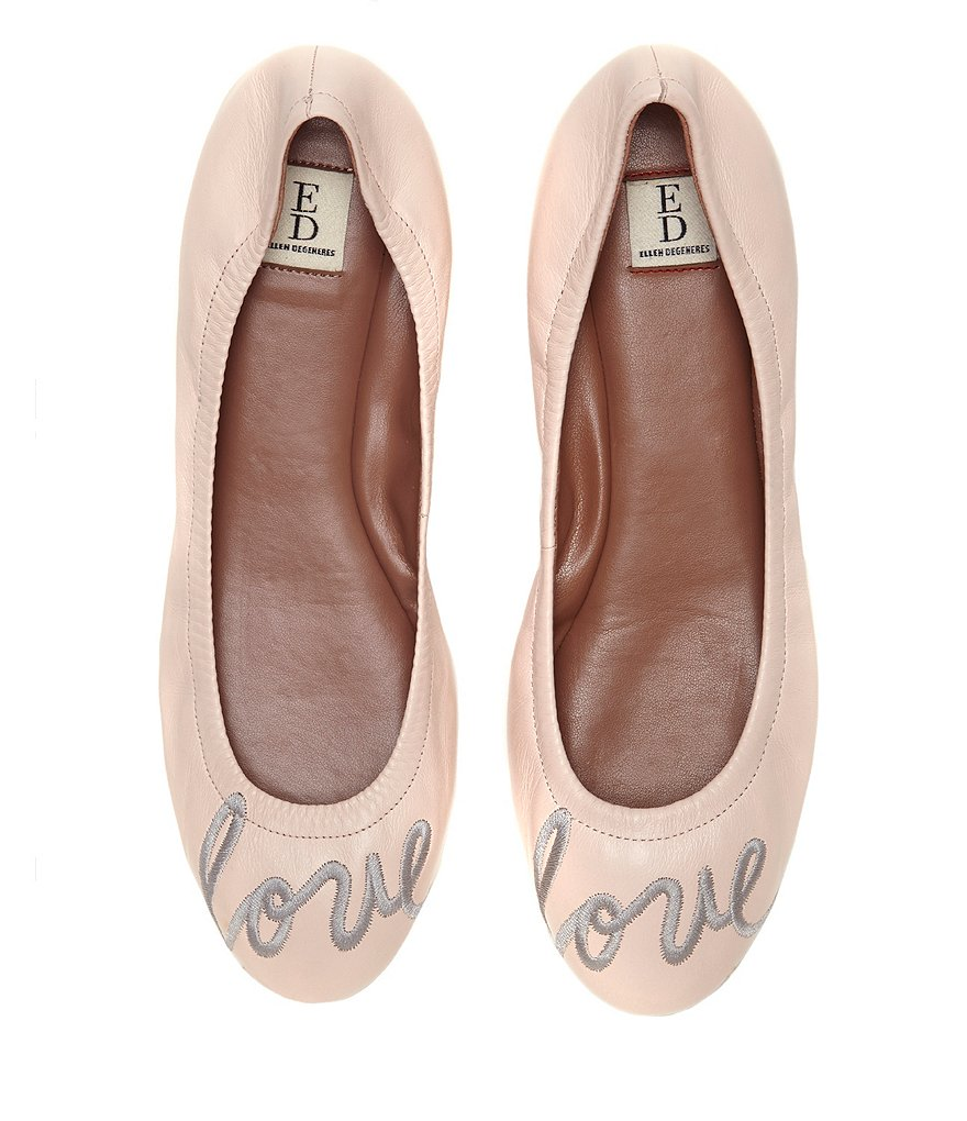 ED Ellen DeGeneres Langston Embroidered Leather Flats