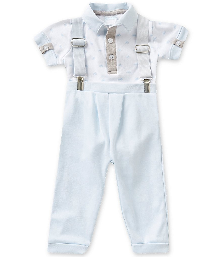Edgehill Collection Baby Boys Newborn-6 Months Novelty Bodysuit, Suspenders, and Pants Set