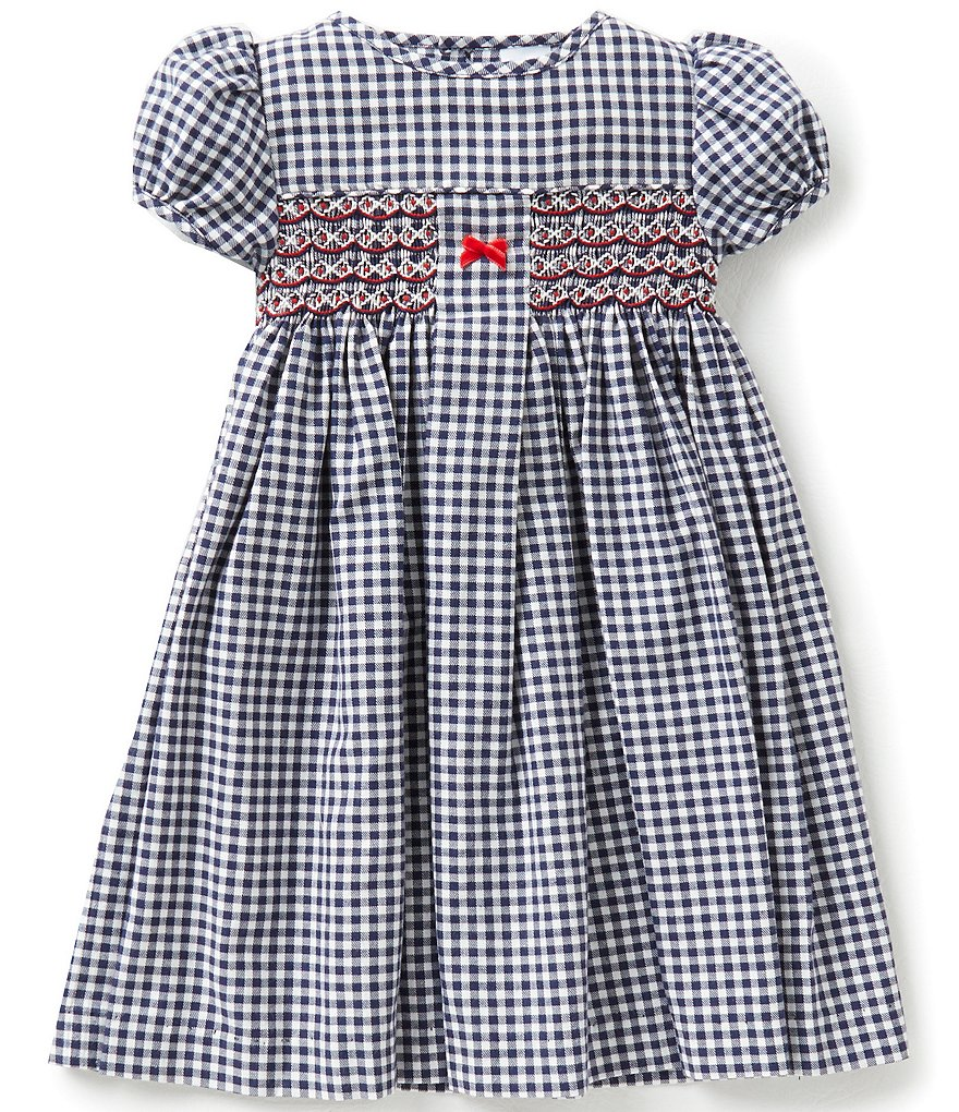 Edgehill Collection Little Girls 2T-4T Months Checked Smocked Dress