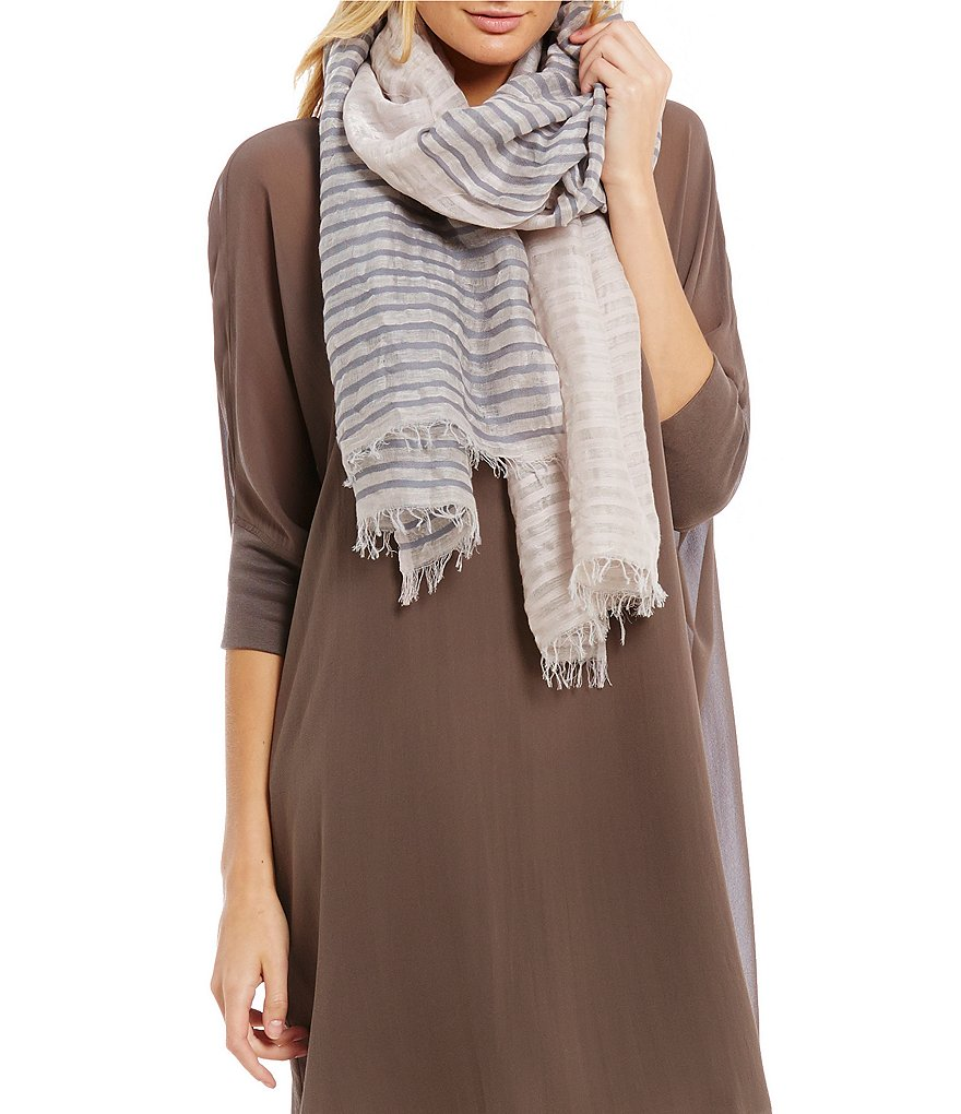 Eileen Fisher Striped Hand-Loomed Organic Cotton & Linen Scarf