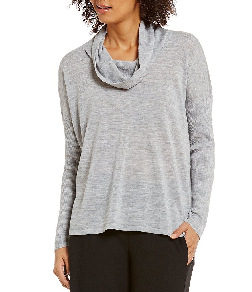 Eileen Fisher Ultrafine Merino Cowl Neck Solid Box-Top Sweater