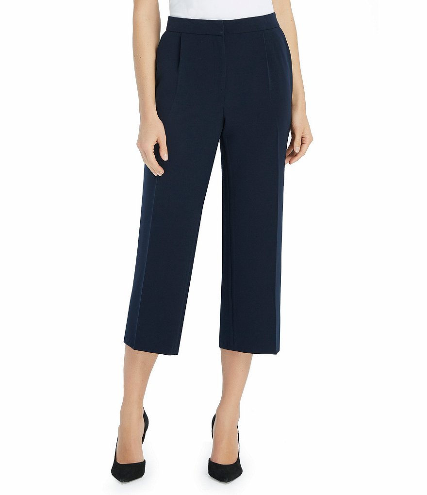 Ellen Tracy Crepe Wide-Leg Crop Pants