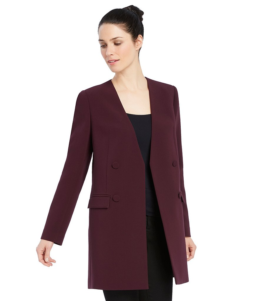 Ellen Tracy Faux Double-Breasted Open Front Topper Jacket