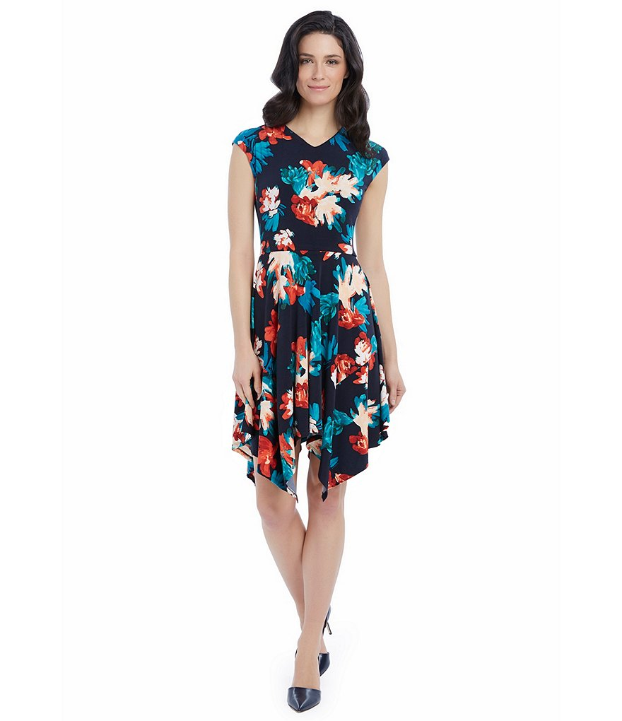 Ellen Tracy Handkerchief Hem Floral Print Knit Jersey Dress