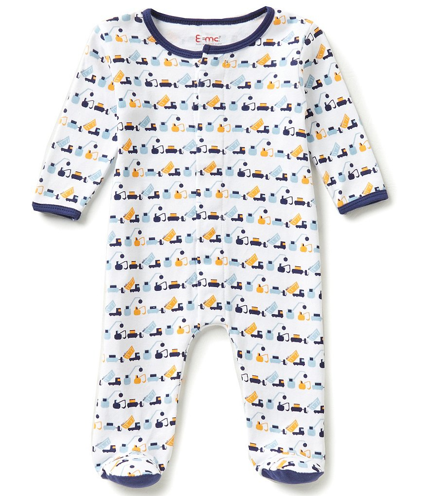 E=MC2 Baby Boys Newborn-9 Months Truck Printed Magnetic-Closure Footed Coverall