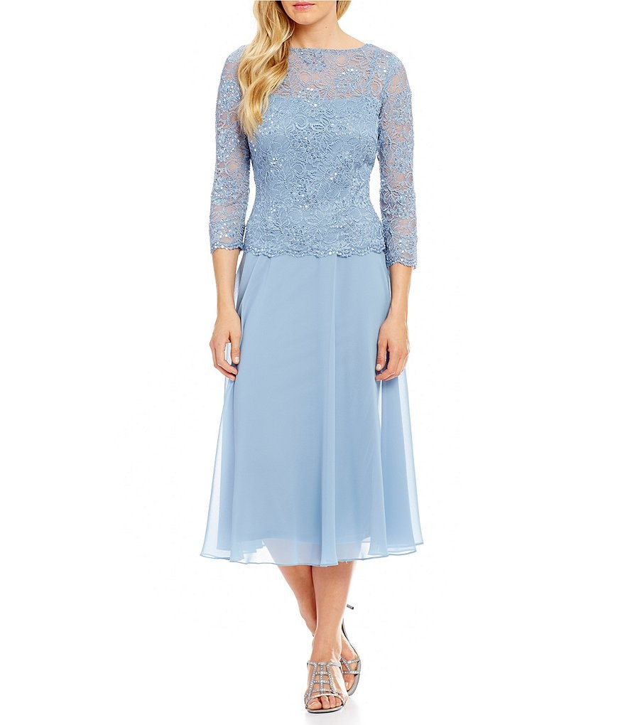 Emma Street Sequined Lace Mock 2-Piece Tea-Length Dress | Dillards