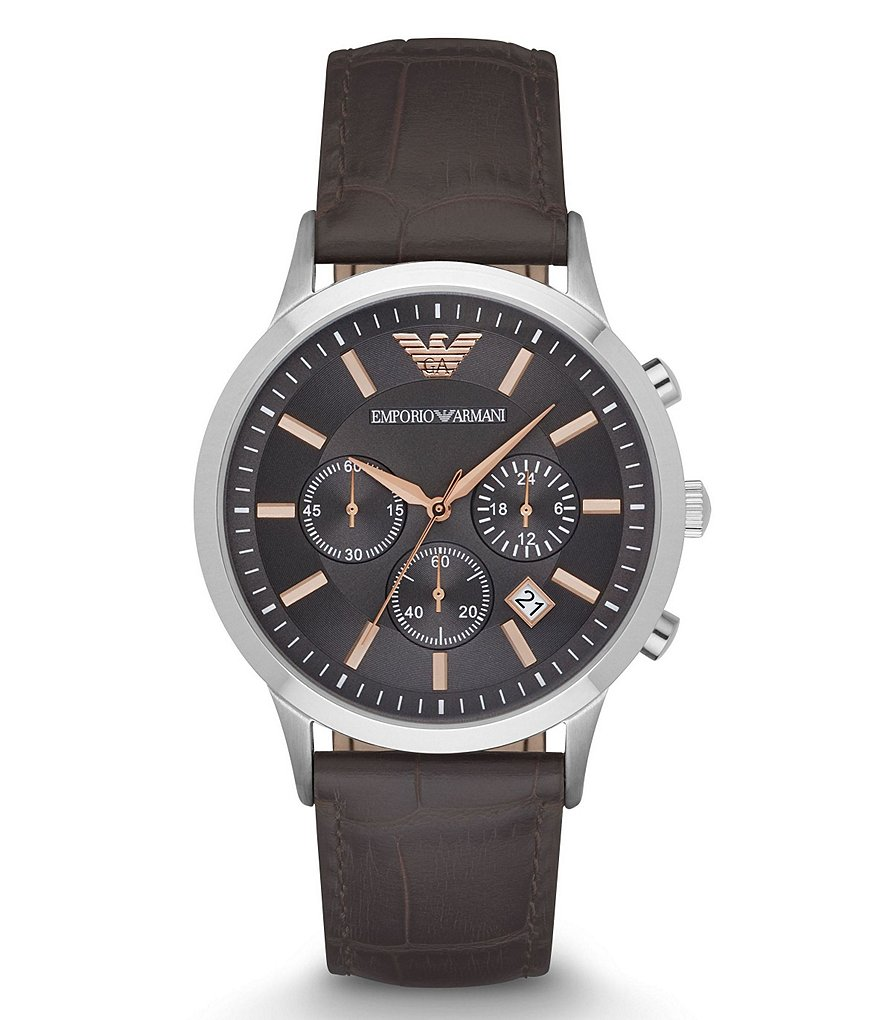 Emporio Armani Chronograph & Date Leather-Strap Watch