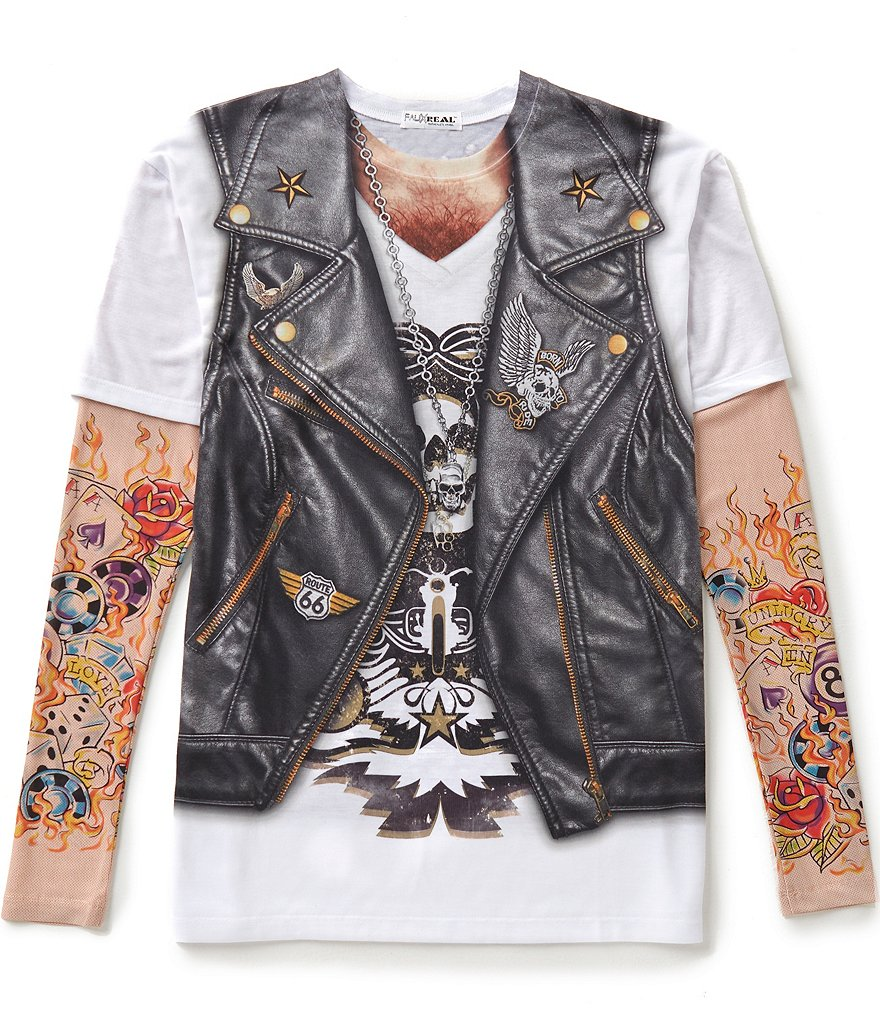 Faux Real Tattoo Long-Sleeve Biker Graphic Tee