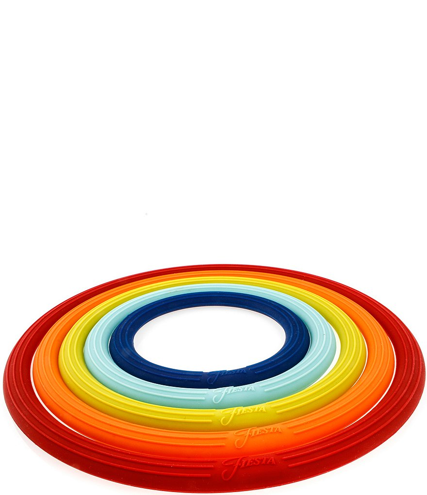 Fiesta Nesting Multifunction Silicone Ring Trivets, Set of 5