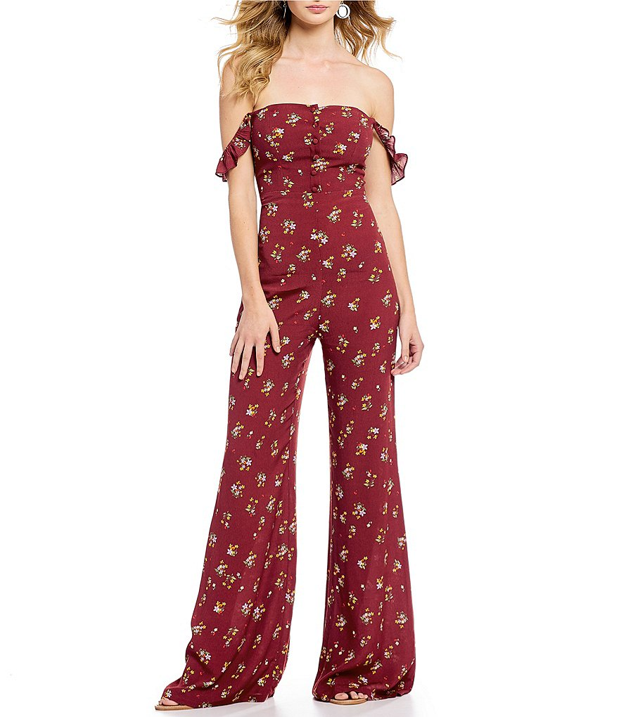Flynn Skye Bardot Victorian Ditsy Floral Print Off-the-Shoulder Jumpsuit