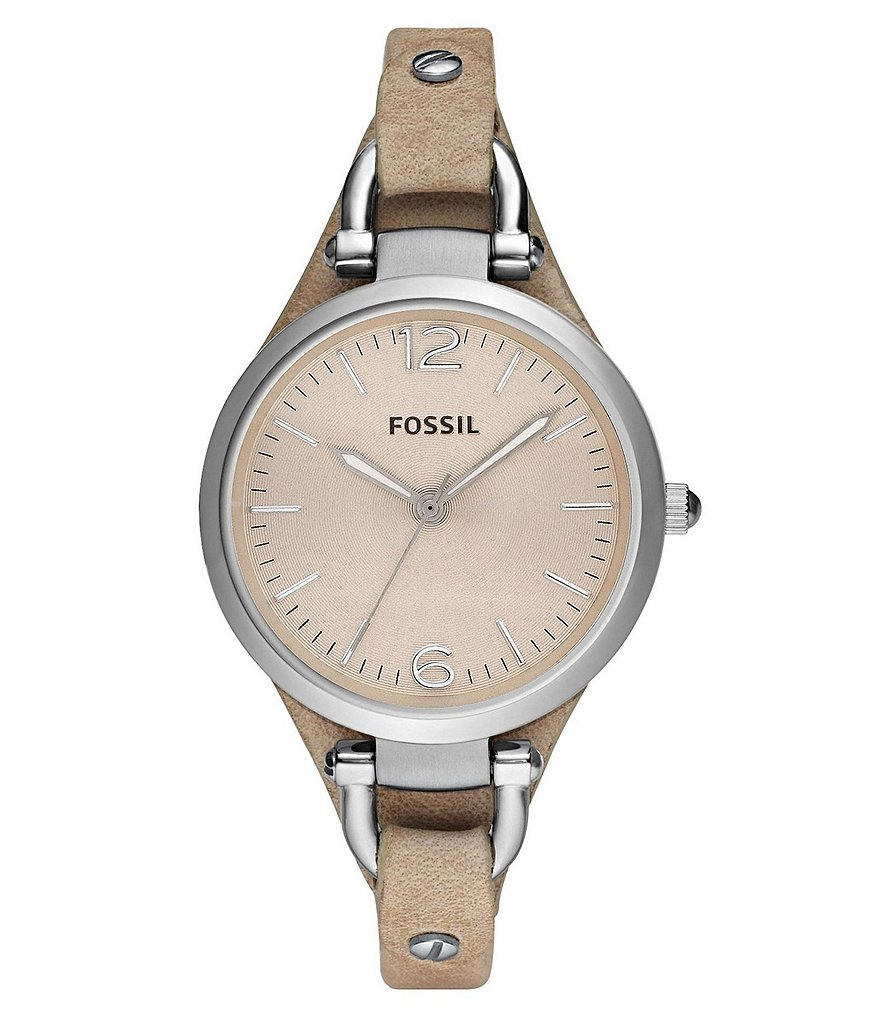 Fossil Georgia Sand Leather Saddle Strap 3-Hand Stainless Steel Watch
