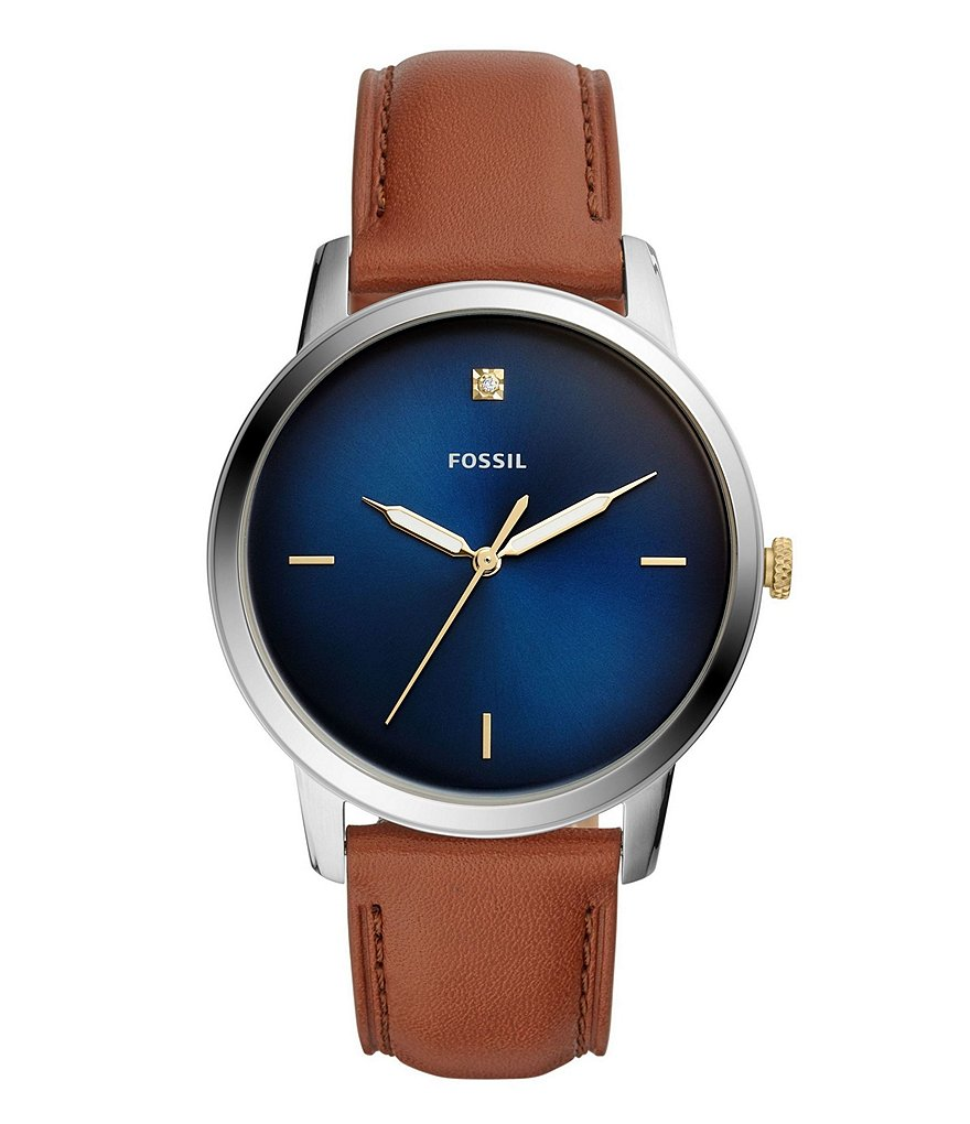 Fossil Minimalist Carbon Series Three-Hand Luggage Leather Watch