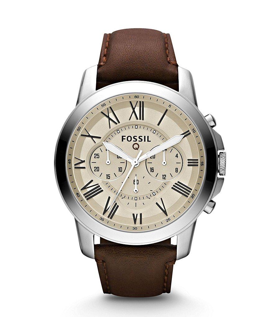 Fossil Q Grant Leather Strap Chronograph Stainless Steel Activity Tracker Smart Watch