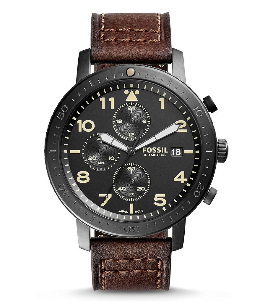 Fossil The Major Chronograph & Date Leather-Strap Watch