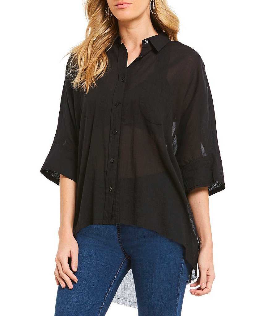 Best Of Me Button Down Bell Sleeve Hi Low Tunic by Free People