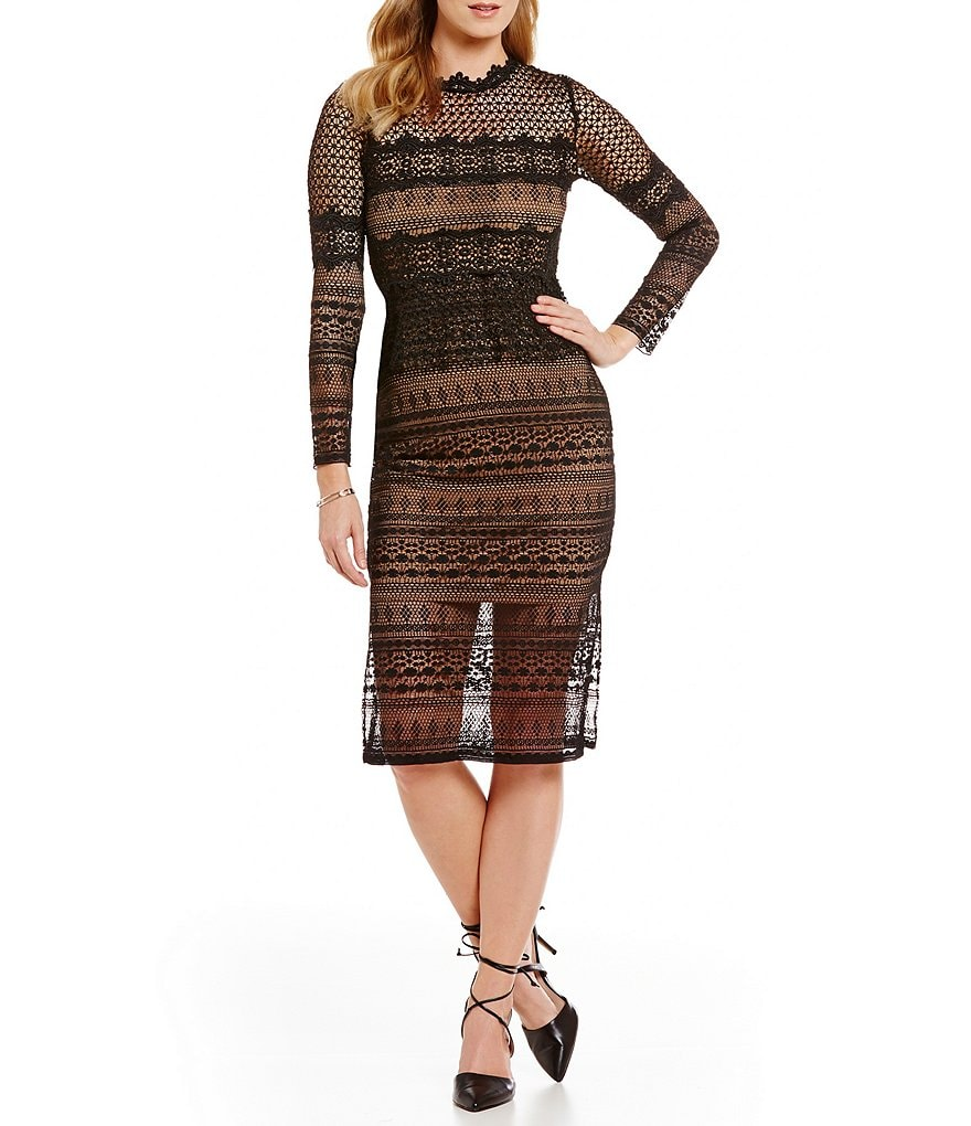 French Connection Petra Lace Mock Neck Dress