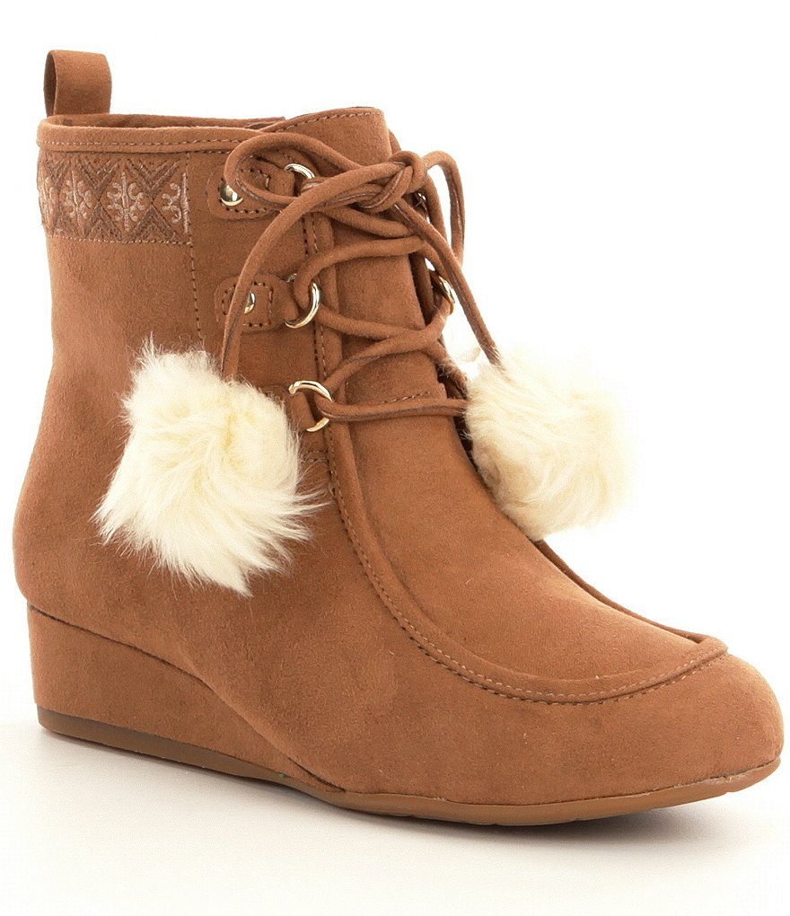 GB Girls Cool-Girl Faux Fur Pom Chukka Boots