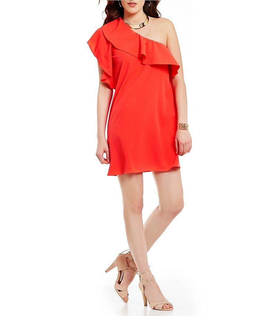 GB Ruffle One Shoulder Sheath Dress