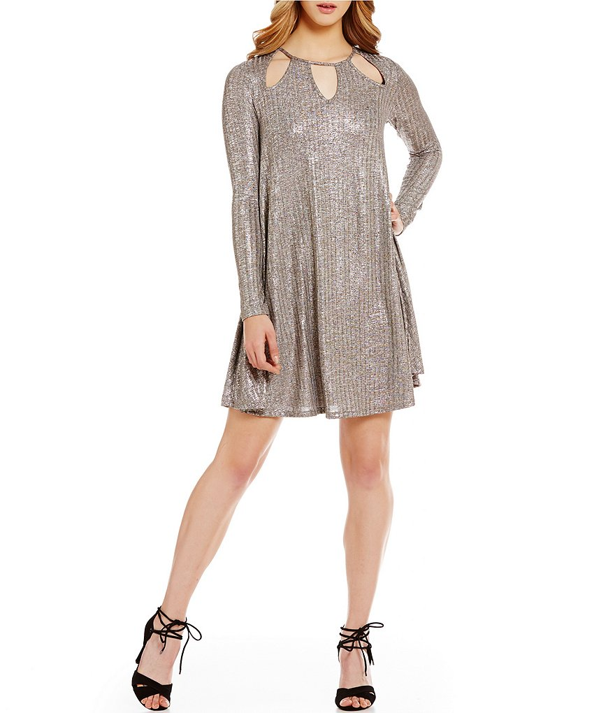 GB Shiny Rib Knit Keyhole Cutout Swing Dress