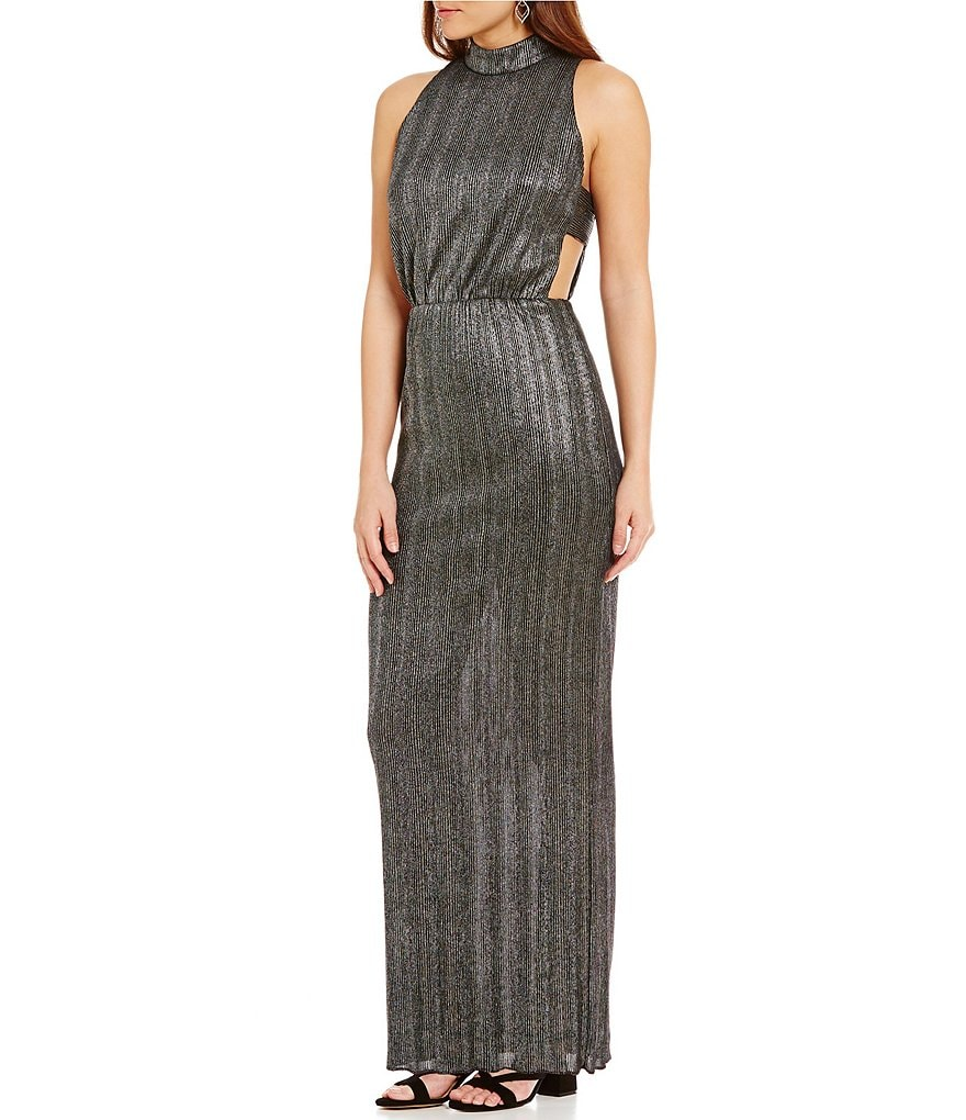 GB Shiny Mockneck Cutout Maxi Dress