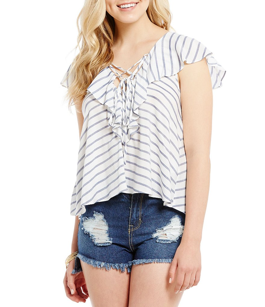 GB Striped Lace-Up V-Neck Ruffle Top