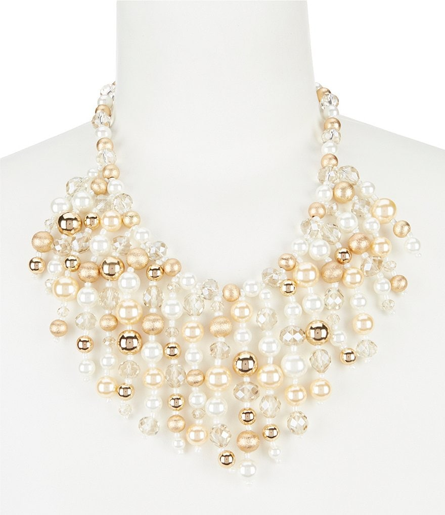 Gemma Layne Beaded Faux-Pearl Statement Necklace