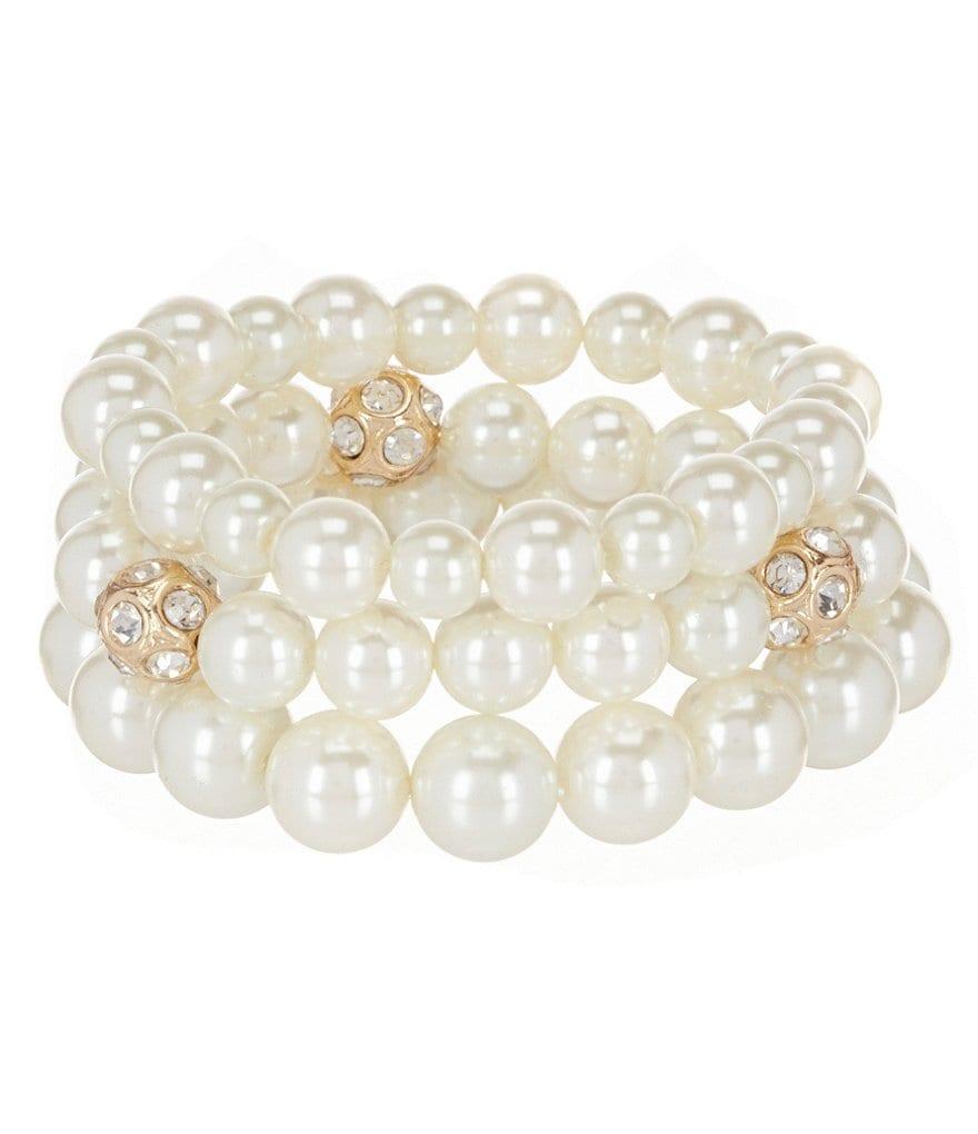 Gemma Layne Fire Ball Pearl Stretch Bracelet Set Jewelry Women Accessories i59JS9G1P good