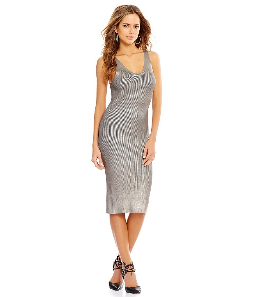Gianni Bini Gavin Coated Metallic Rib Knit Sleeveless Bodycon Dress