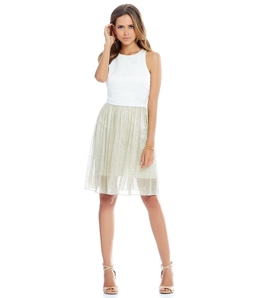 Gianni Bini Holly Racer Front Metallic Skirt Dress