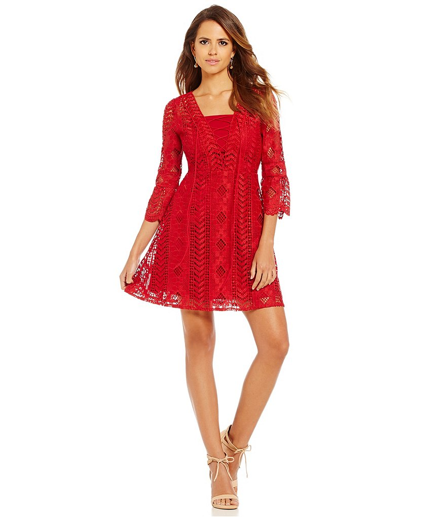 Gianni Bini Isabelle Bell Sleeve Lace Up Dress