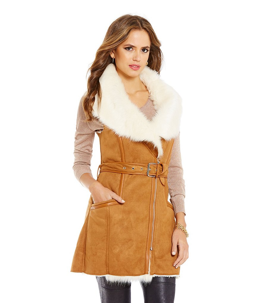 Gianni Bini Mason Faux-Fur Belted Faux-Leather Trimmed Solid Faux-Suede Vest