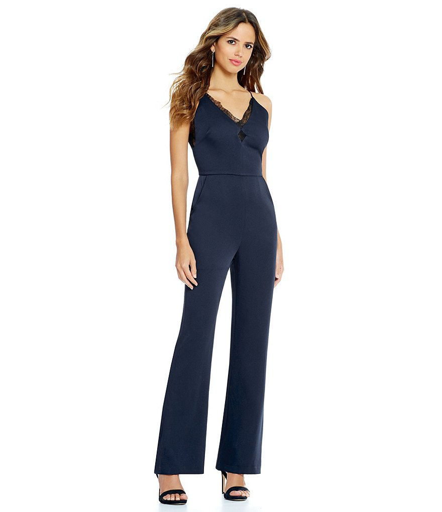 Gianni Bini Mindy Lace Trim V-Neck Jumpsuit