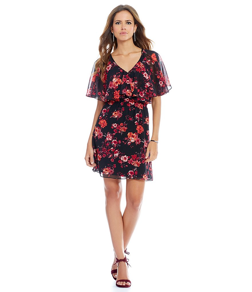 Gianni Bini Nixon Floral V-Neck Ruffle Dress